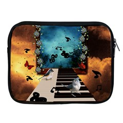 Music, Piano With Birds And Butterflies Apple Ipad 2/3/4 Zipper Cases