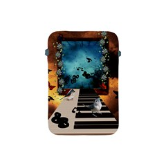 Music, Piano With Birds And Butterflies Apple Ipad Mini Protective Soft Cases