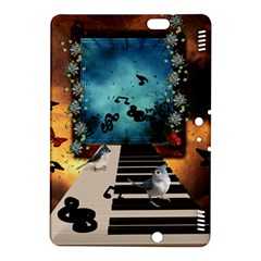 Music, Piano With Birds And Butterflies Kindle Fire Hdx 8 9  Hardshell Case