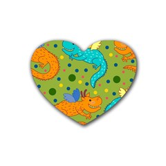Colorful Dragons Pattern Rubber Coaster (heart)