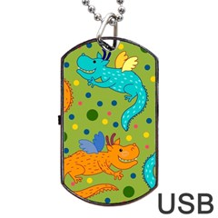 Colorful Dragons Pattern Dog Tag Usb Flash (two Sides)