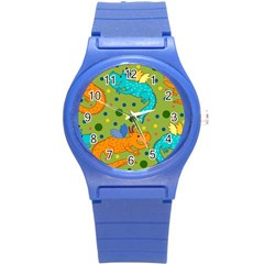 Colorful Dragons Pattern Round Plastic Sport Watch (s)