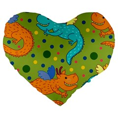 Colorful Dragons Pattern Large 19  Premium Flano Heart Shape Cushions