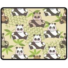 Fun Panda Pattern Double Sided Fleece Blanket (medium)