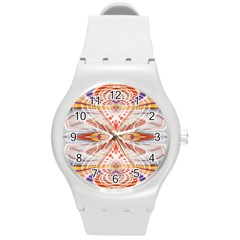 Heart   Reflection   Energy Round Plastic Sport Watch (m)