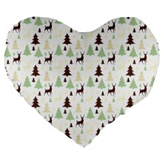 Reindeer Tree Forest Large 19  Premium Flano Heart Shape Cushions