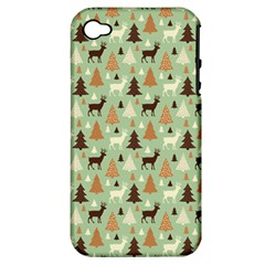 Reindeer Tree Forest Art Apple Iphone 4/4s Hardshell Case (pc+silicone)