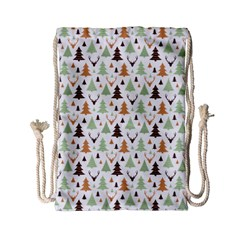 Reindeer Christmas Tree Jungle Art Drawstring Bag (small)