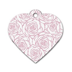 Pink Peonies Dog Tag Heart (two Sides)