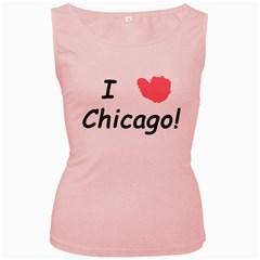 I Heart Chicago  Women s Pink Tank Top