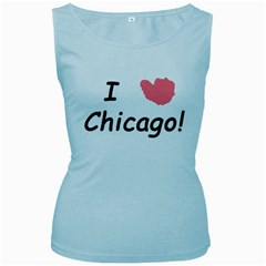 I Heart Chicago  Women s Baby Blue Tank Top