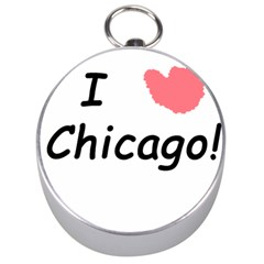 I Heart Chicago  Silver Compasses