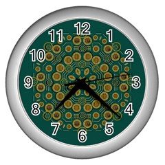 Snow Flower In A Calm Place Of Eternity And Peace Wall Clocks (silver)