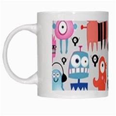 Funky Monsters Pattern White Mugs