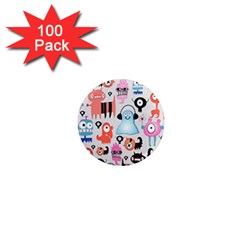 Funky Monsters Pattern 1  Mini Magnets (100 Pack)