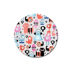 Funky Monsters Pattern Magnet 3  (round)