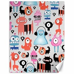 Funky Monsters Pattern Canvas 18  X 24