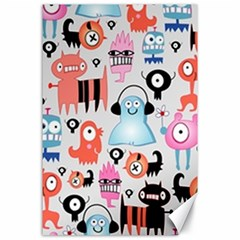 Funky Monsters Pattern Canvas 24  X 36