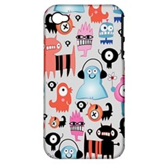 Funky Monsters Pattern Apple Iphone 4/4s Hardshell Case (pc+silicone)