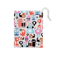 Funky Monsters Pattern Drawstring Pouches (medium)