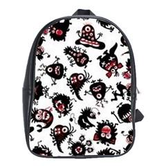 Goofy Monsters Pattern  School Bag (xl)