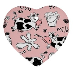 Fresh Milk Cow Pattern Heart Ornament (two Sides)