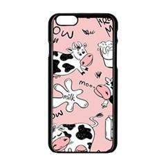 Fresh Milk Cow Pattern Apple Iphone 6/6s Black Enamel Case