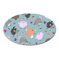 Little Round Animal Friends Oval Magnet