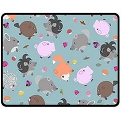 Little Round Animal Friends Fleece Blanket (medium)