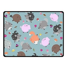 Little Round Animal Friends Double Sided Fleece Blanket (small)