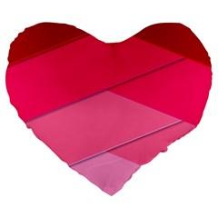 Geometric Shapes Magenta Pink Rose Large 19  Premium Flano Heart Shape Cushions