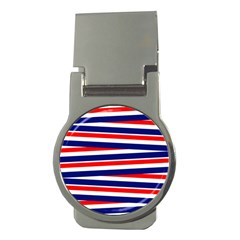 Red White Blue Patriotic Ribbons Money Clips (round)