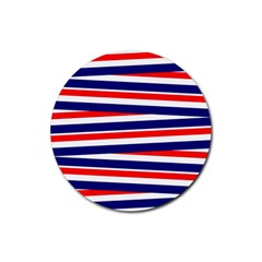 Red White Blue Patriotic Ribbons Rubber Coaster (round)