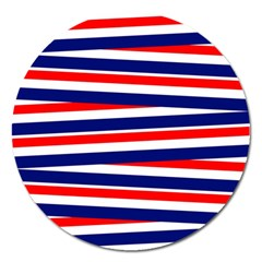 Red White Blue Patriotic Ribbons Magnet 5  (round)