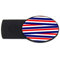 Red White Blue Patriotic Ribbons Usb Flash Drive Oval (2 Gb)