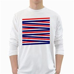 Red White Blue Patriotic Ribbons White Long Sleeve T Shirts