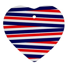 Red White Blue Patriotic Ribbons Heart Ornament (two Sides)