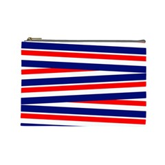 Red White Blue Patriotic Ribbons Cosmetic Bag (large)
