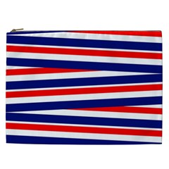 Red White Blue Patriotic Ribbons Cosmetic Bag (xxl)