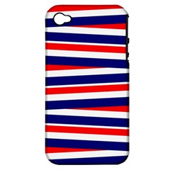 Red White Blue Patriotic Ribbons Apple Iphone 4/4s Hardshell Case (pc+silicone)