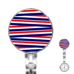 Red White Blue Patriotic Ribbons Stainless Steel Nurses Watch