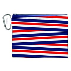 Red White Blue Patriotic Ribbons Canvas Cosmetic Bag (xxl)