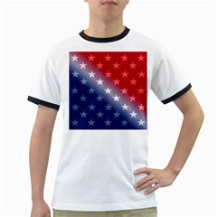 America Patriotic Red White Blue Ringer T Shirts
