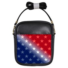 America Patriotic Red White Blue Girls Sling Bags