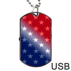America Patriotic Red White Blue Dog Tag Usb Flash (one Side)