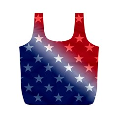 America Patriotic Red White Blue Full Print Recycle Bags (m)