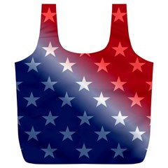 America Patriotic Red White Blue Full Print Recycle Bags (l)