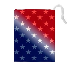 America Patriotic Red White Blue Drawstring Pouches (extra Large)