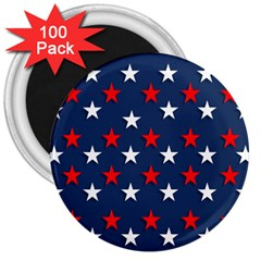 Patriotic Colors America Usa Red 3  Magnets (100 Pack)