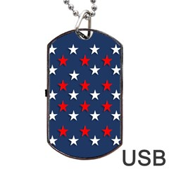 Patriotic Colors America Usa Red Dog Tag Usb Flash (two Sides)